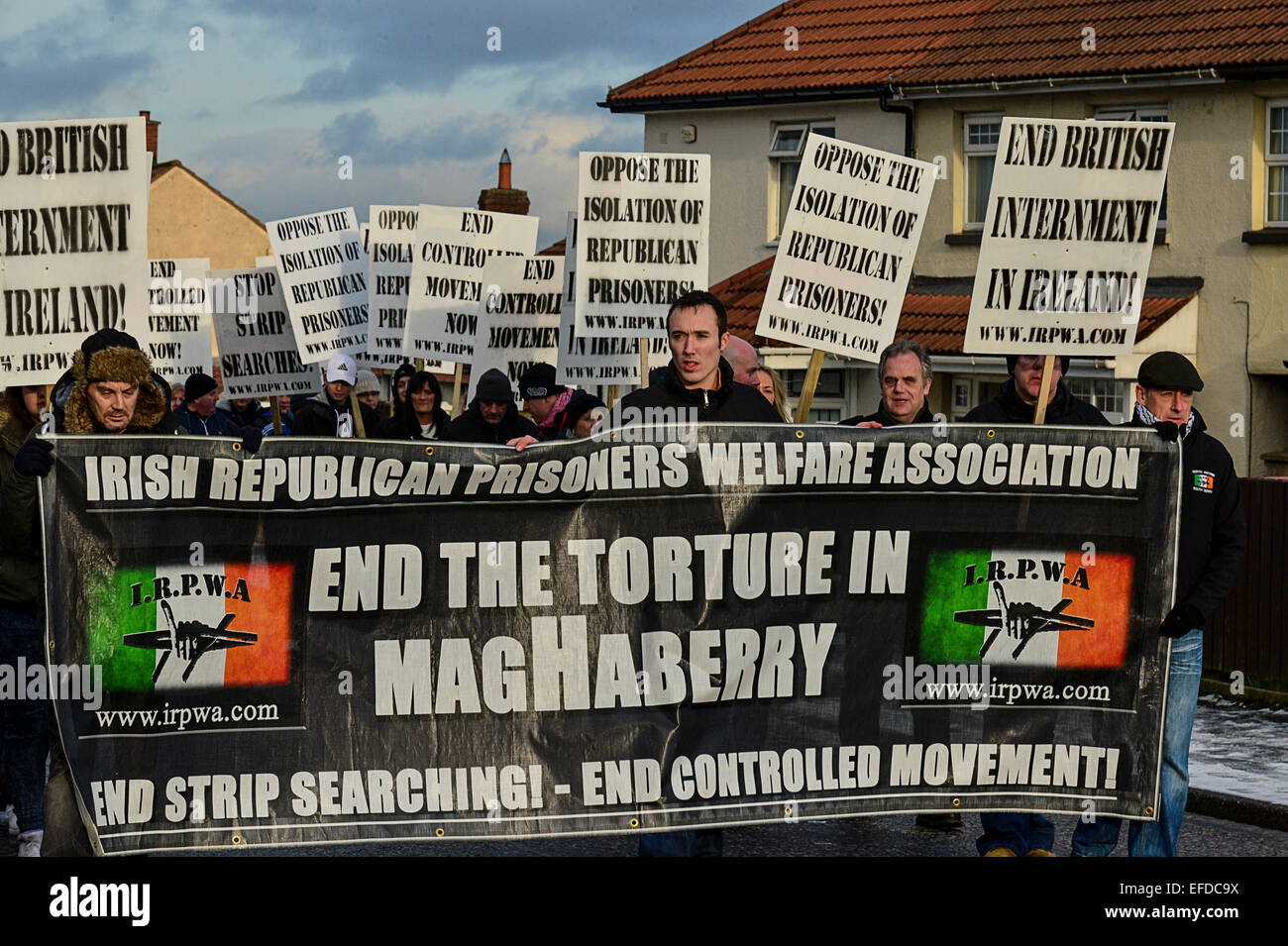 Londonderry, Northern Ireland, UK. 1st February, 2015.  Republicans attend the Bloody Sunday commemoration. The Stock Photo
