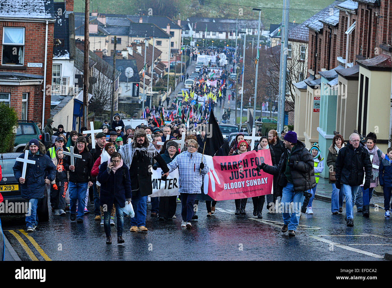 Londonderry, Northern Ireland, UK. 1st February, 2015. Thousands participate in the Bloody Sunday memorial in Londonderry Stock Photo