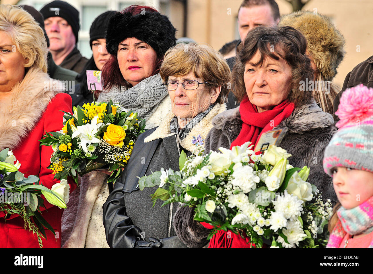 Bloody Sunday commemoration, Londonderry, Northern Ireland - 1st February 2015. Wreaths left by relatives at the - Stock Image