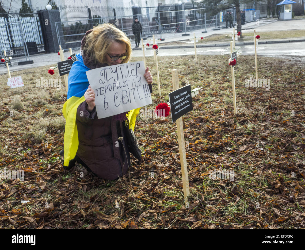 Feb. 1, 2015 - Crosses placed by activists and bearing the names of 30 people who died in shelling in Mariupol on Stock Photo