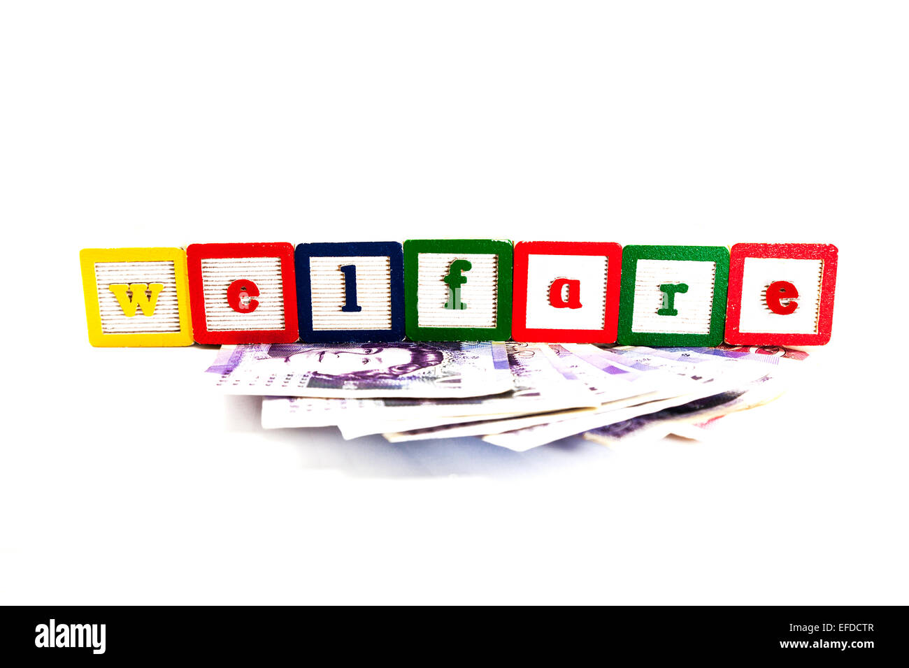 welfare rate cuts expense rise claim money fund funds cash help means cut out copy space white background - Stock Image