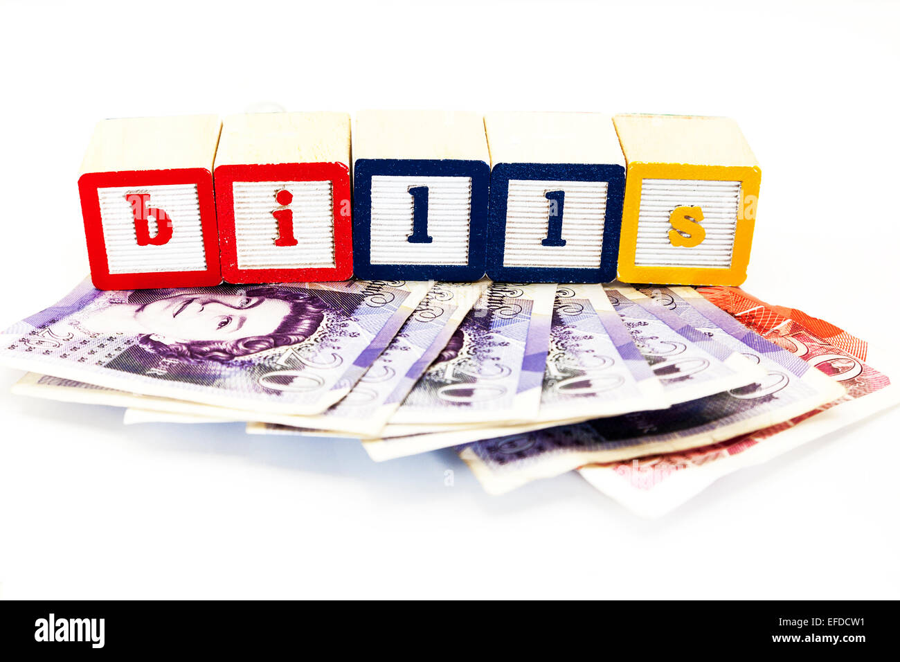 Bills high higher more money costs costing expense rising rise standard of living increasing Copy space cut out - Stock Image