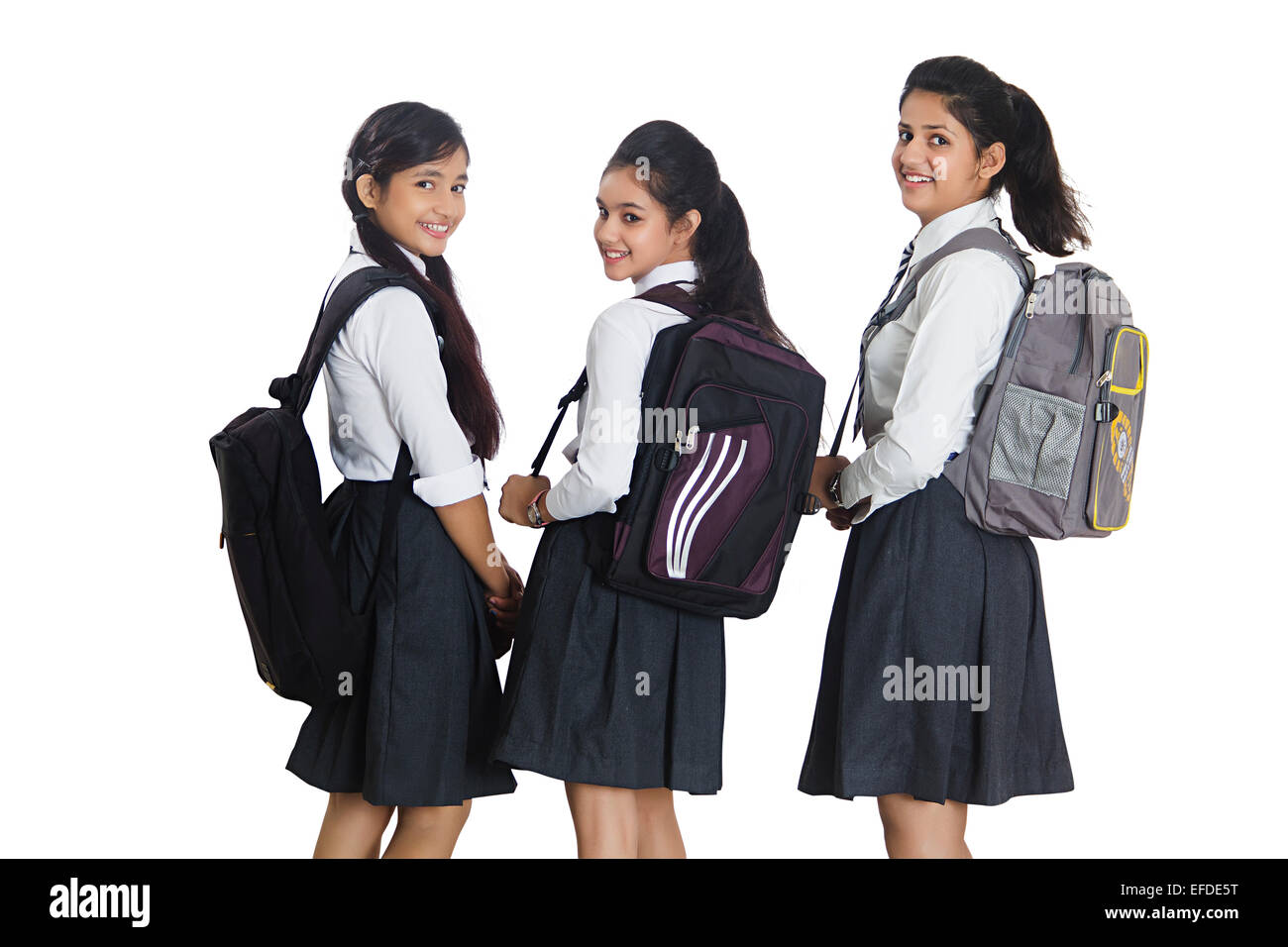 3 Indian School Girls Students Standing Stock Image