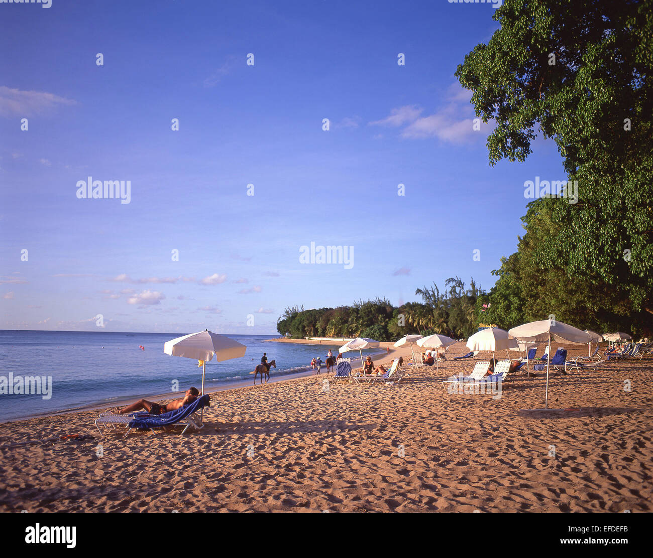 Sandy Lane Beach at sunset, Saint James Parish, Barbados, Lesser Antilles, Caribbean - Stock Image