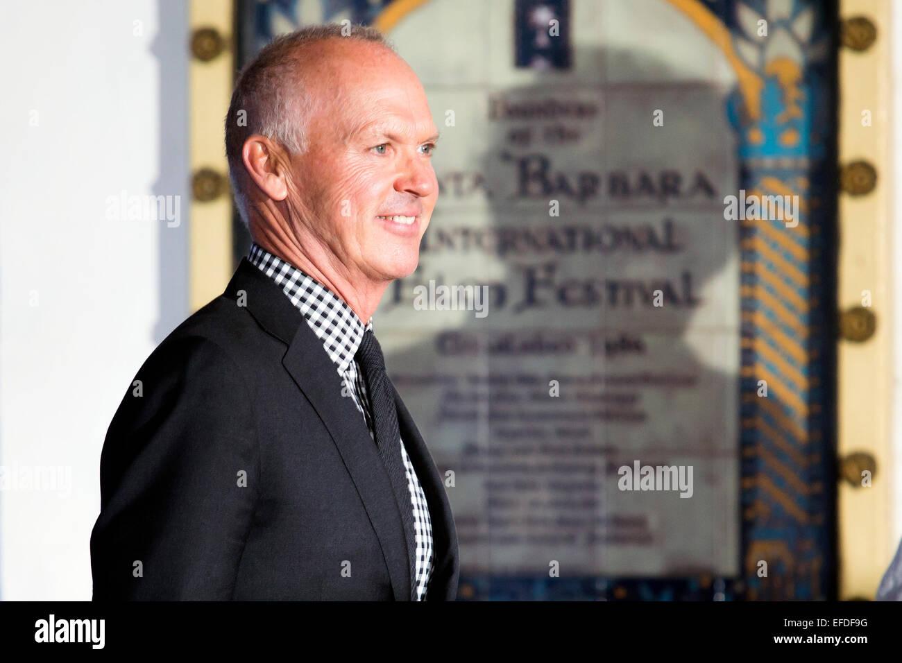 Santa Barbara, California, USA. 31th Jan, 2015. Actor Michael Keaton arrives at the 30th Santa Barbara International - Stock Image