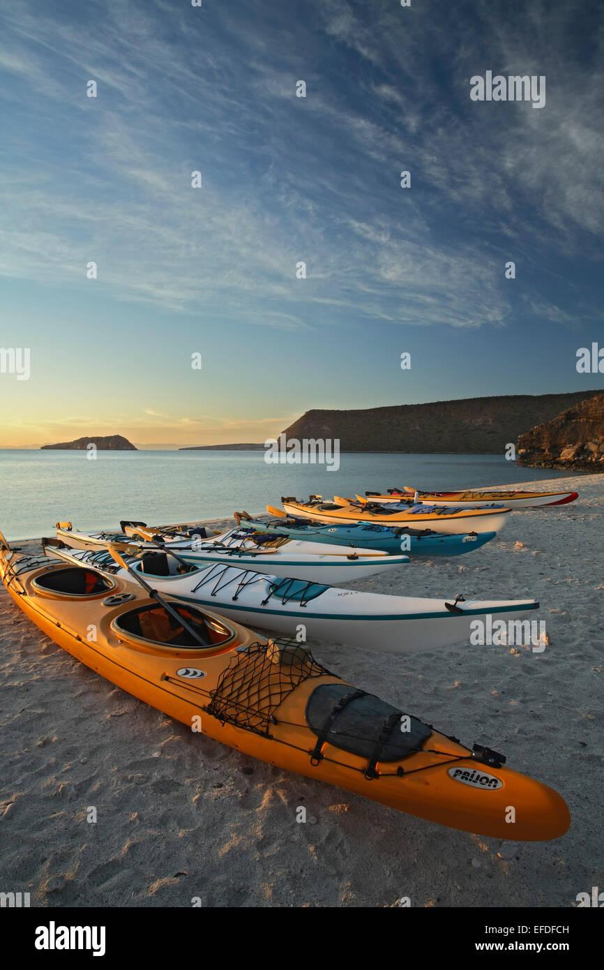 Kayaks on beach, Espiritu Santo Island, Sea of Cortez, near La Paz, Baja California Sur, Mexico - Stock Image