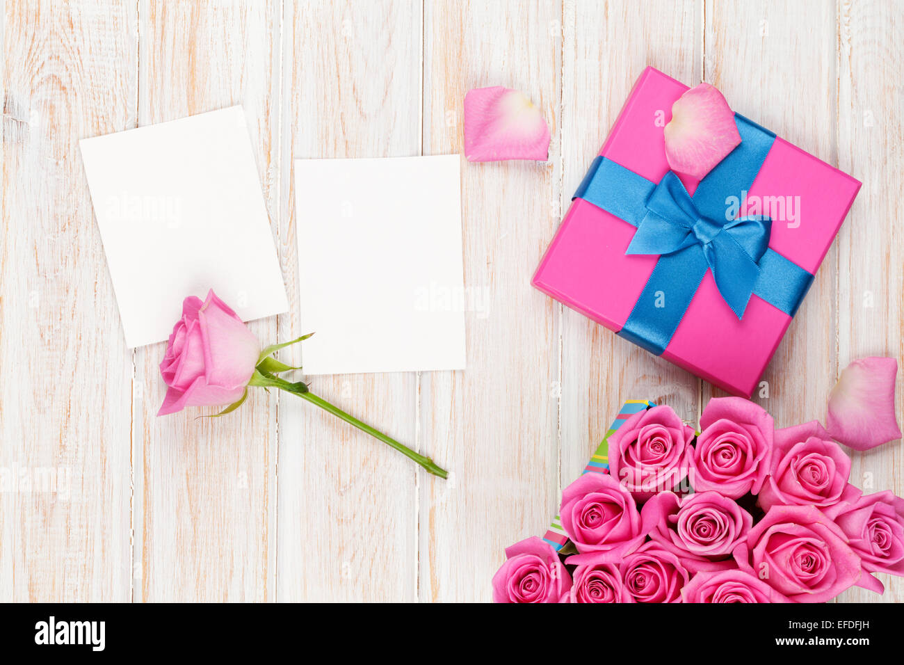Valentines Day Background With Gift Box Full Of Pink Roses And Two