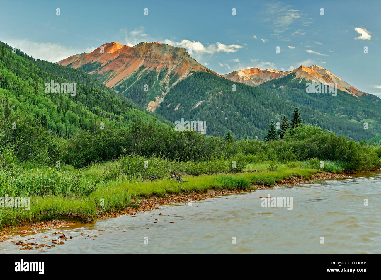 Red Mountains and Red Mountain Creek, near Ouray, Colorado USA - Stock Image