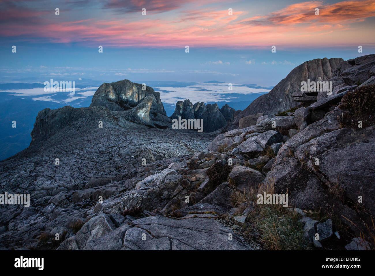 Mount Kinabalu summit peaks early dawn - Sabah Borneo - Stock Image