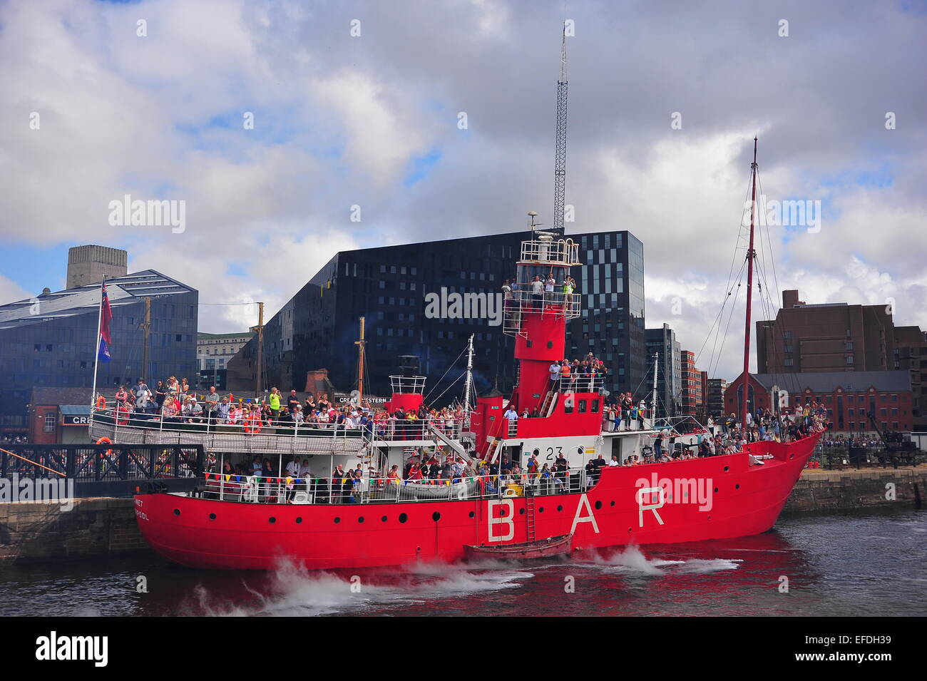 Former Mersey Bar lightship Planet Liverpool being used as a viewing platform for the Royal De-Luxe Giants WW1 Centenary. - Stock Image