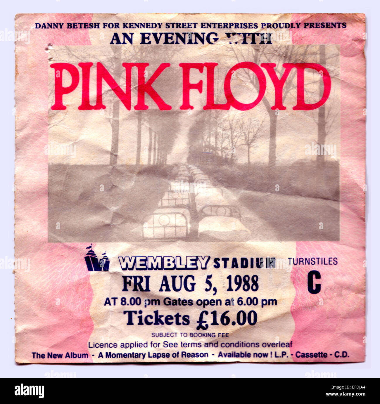 Pink Floyd Concert Ticket for Wembley Stadium, London, Britain - 5th August 1988 - Stock Image