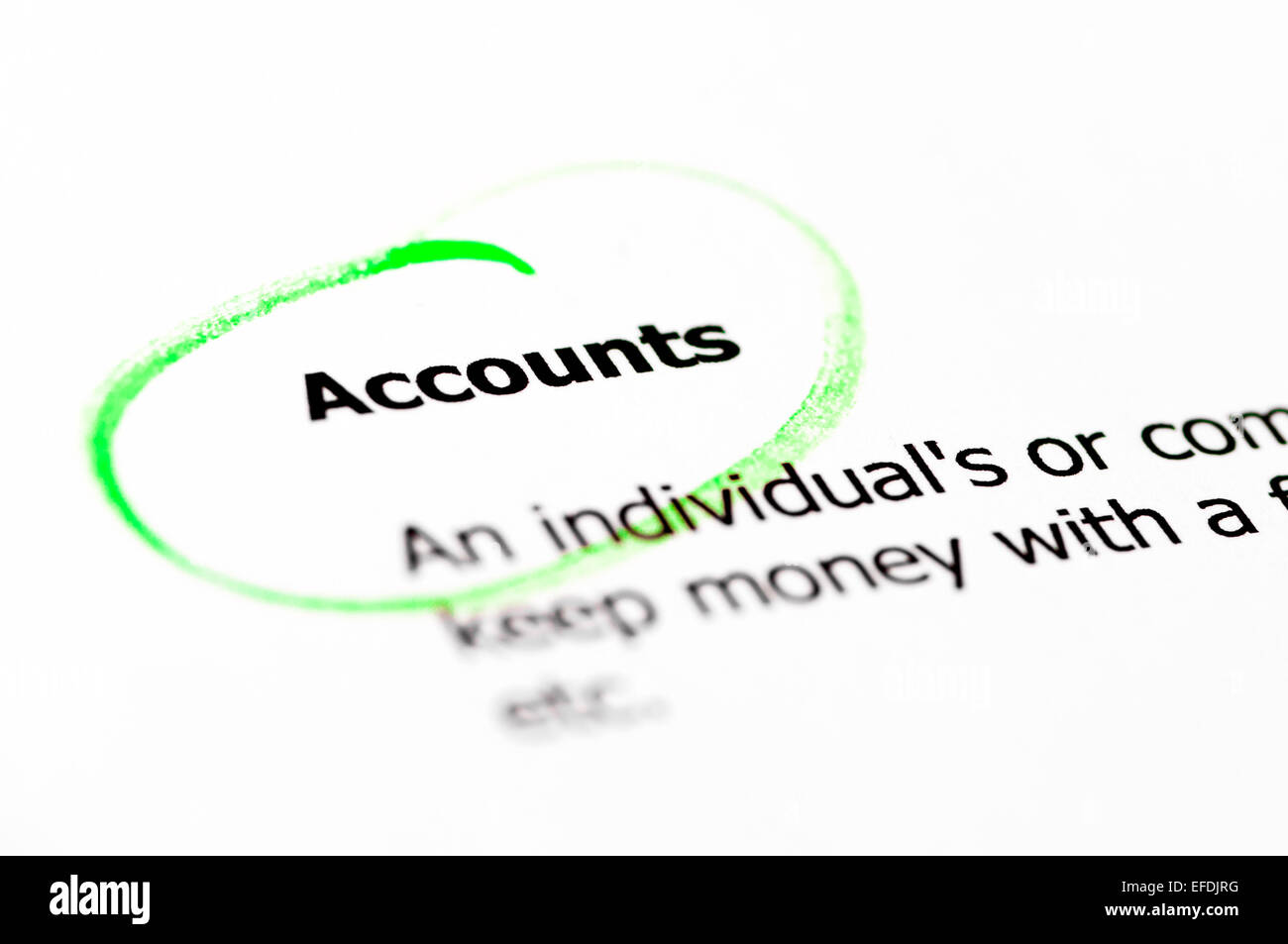 Accounts word  highlighted with green on white paper, copy space available, Business Vision Concept - Stock Image