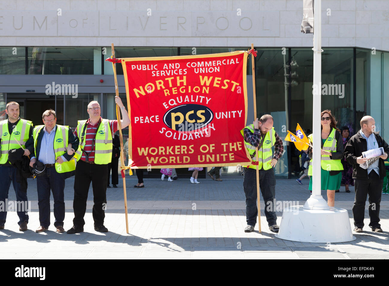 PCS Union members protest against government cuts in Liverpool - Stock Image