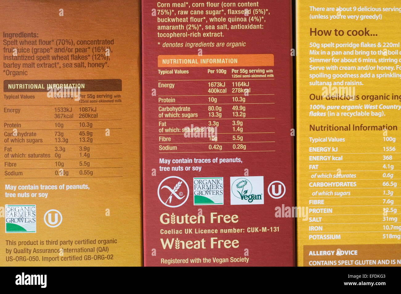 Nutrition information on cereal packets. Stock Photo