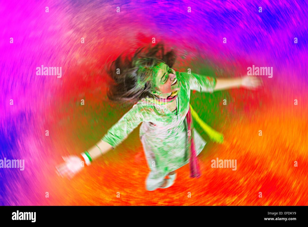 1 indian lady Holi Festival enjoy Stock Photo