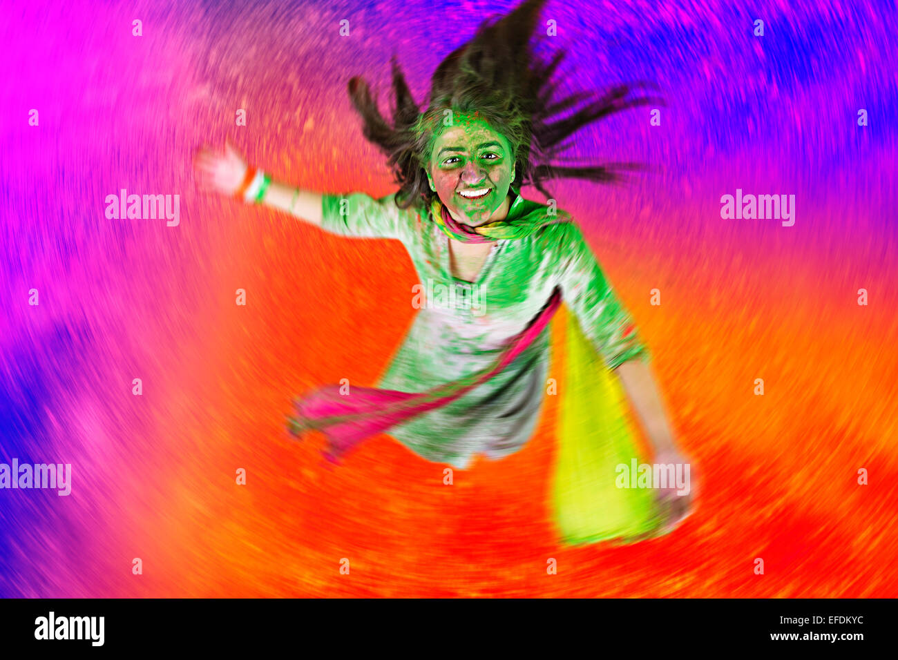 1 indian lady Holi Festival enjoy Stock Photo