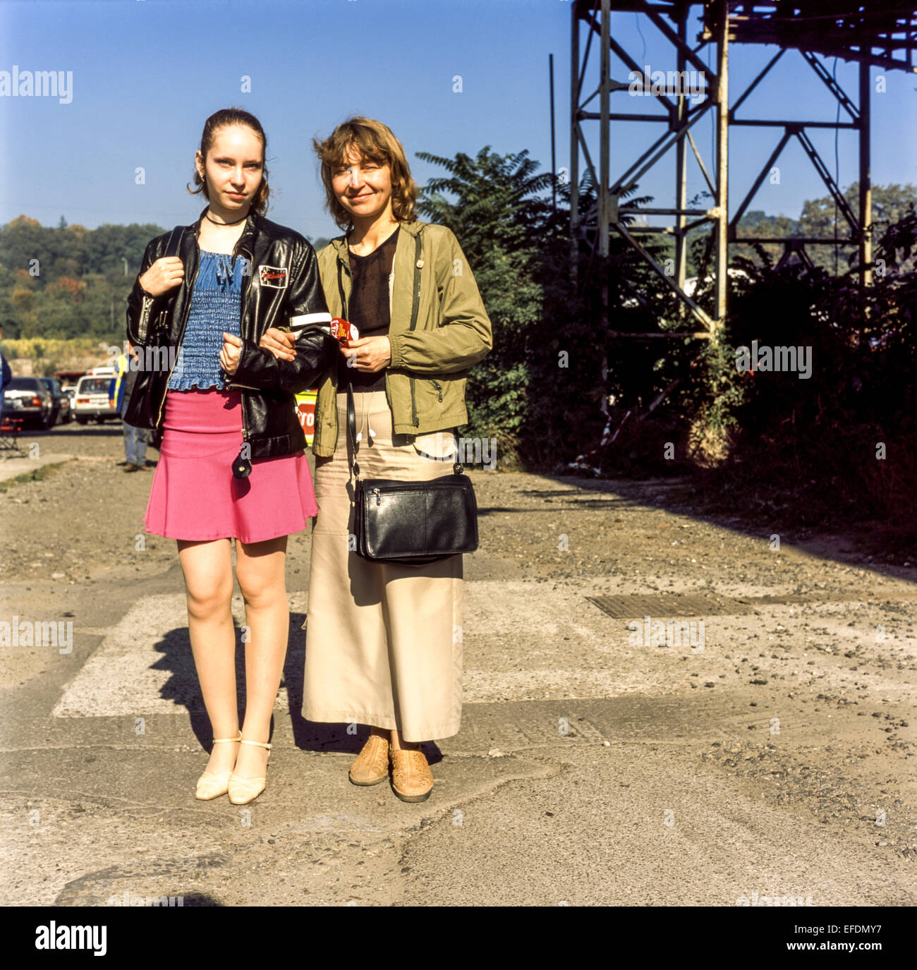 Mother daughter portrait together on a walk , fashion, Czech Republic - Stock Image
