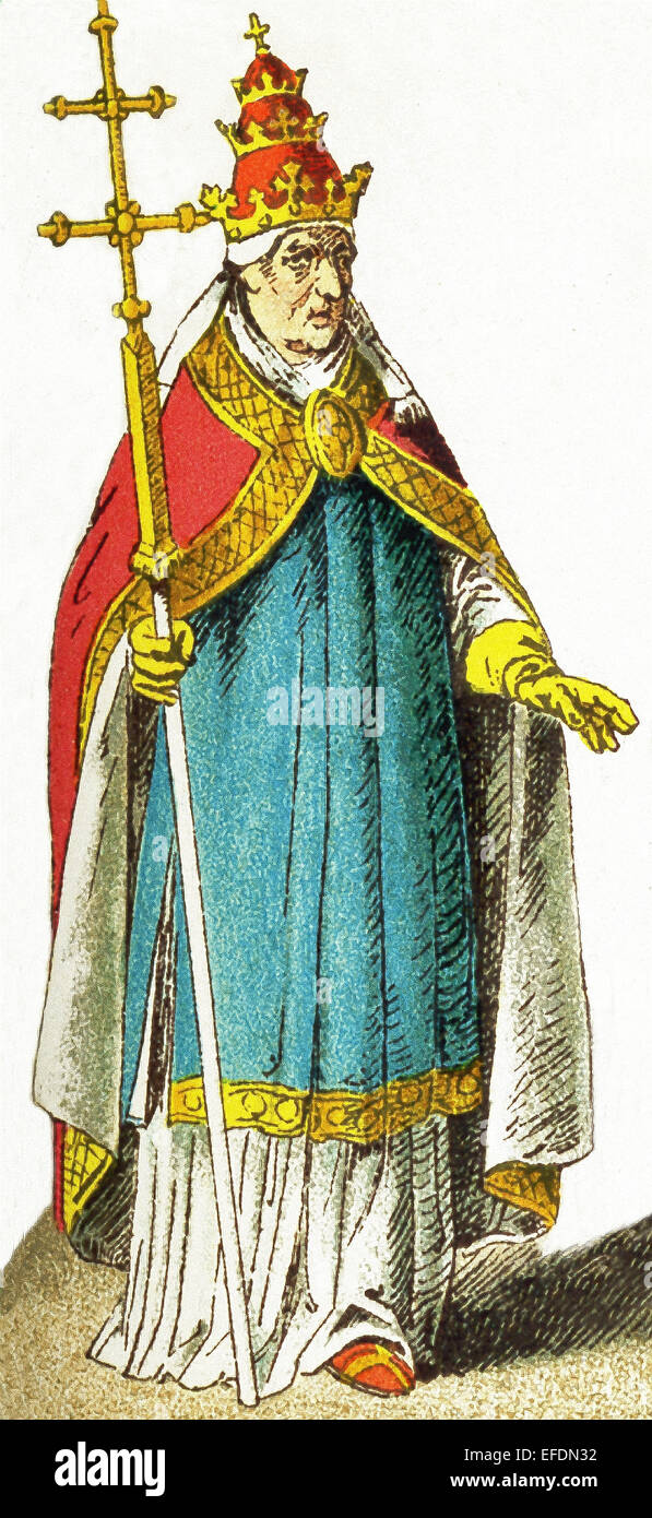 The Italian figure represented here is Pope Boniface IX and dates to late 1300s. Boniface was pope from 1389 to - Stock Image