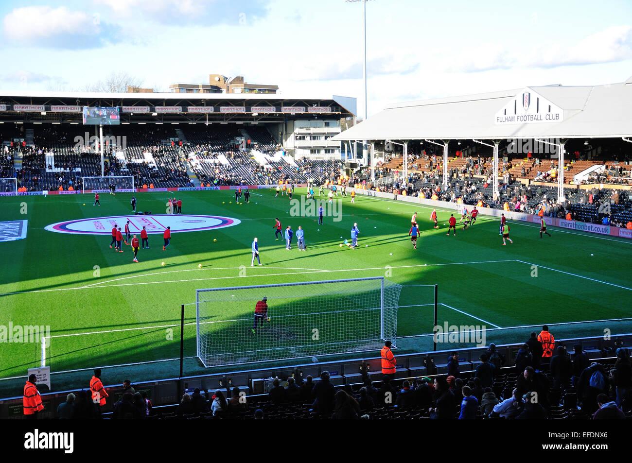 Fulham vs Sunderland match at Craven Cottage Football Ground, Stevenage Road, Fulham, London, England, United Kingdom - Stock Image