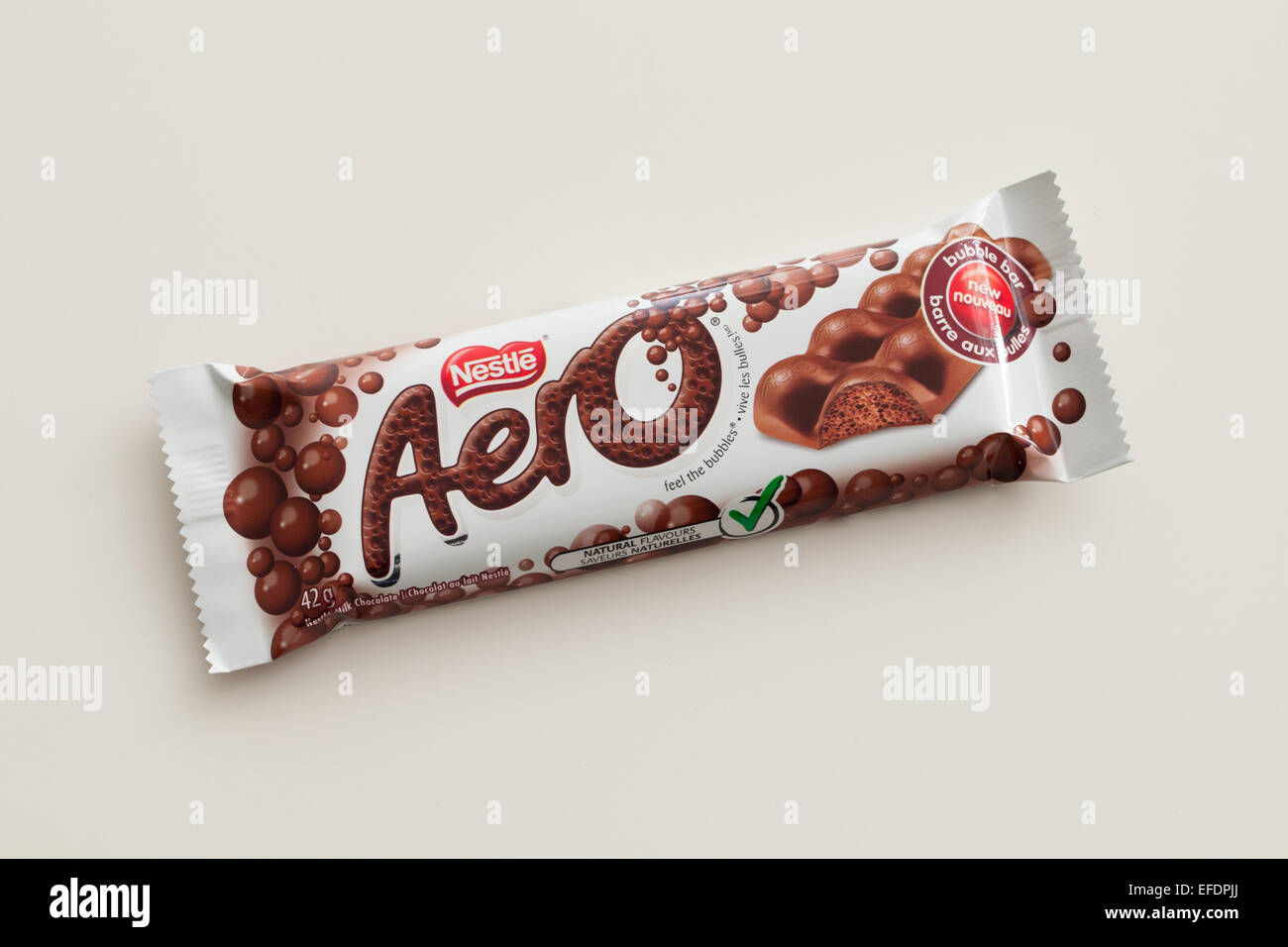 An Aero chocolate bar, produced by Nestlé.  Canadian packaging shown. - Stock Image