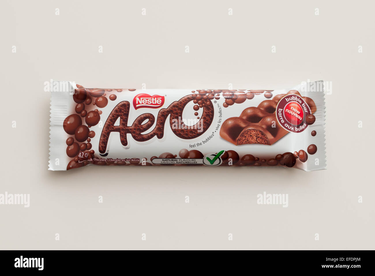 An Aero chocolate bar, produced by Nestlé.  Canadian packaging shown. Stock Photo