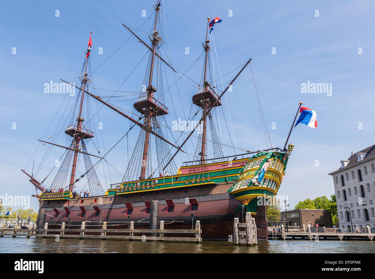Replica of the historic Dutch East India Company ship 'the Amsterdam', a tourist attraction moored outside - Stock Image