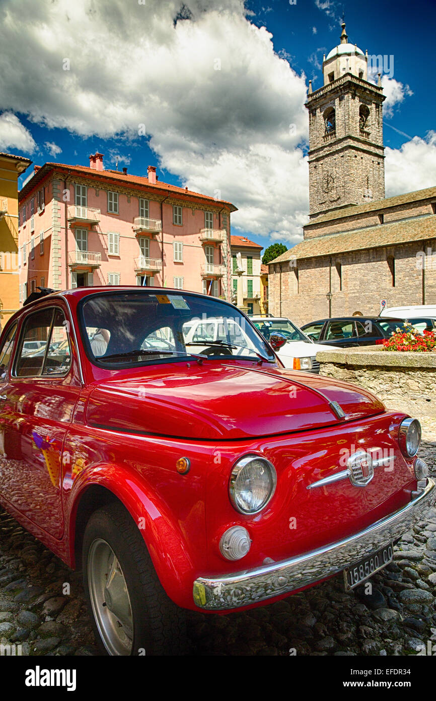 Low Angle View of a Classic Fiat 500 on a Street, Bellagio, Lake Como, Lombardy, Italy - Stock Image