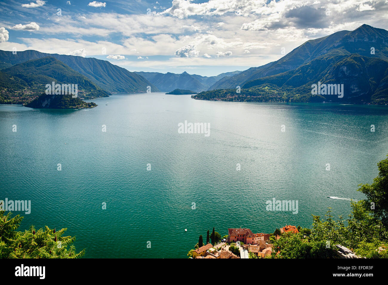 High Angle View of Lake Como Towards Bellagio and Lenno from Castle Vezio, Varenna, Lombardy, Italy - Stock Image