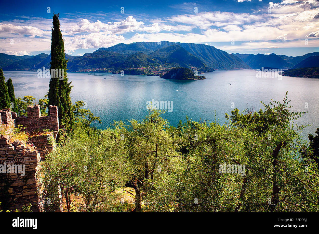 High Angle View of Lake Como from Castle Vezio, Varenna, Lombardy, Italy - Stock Image