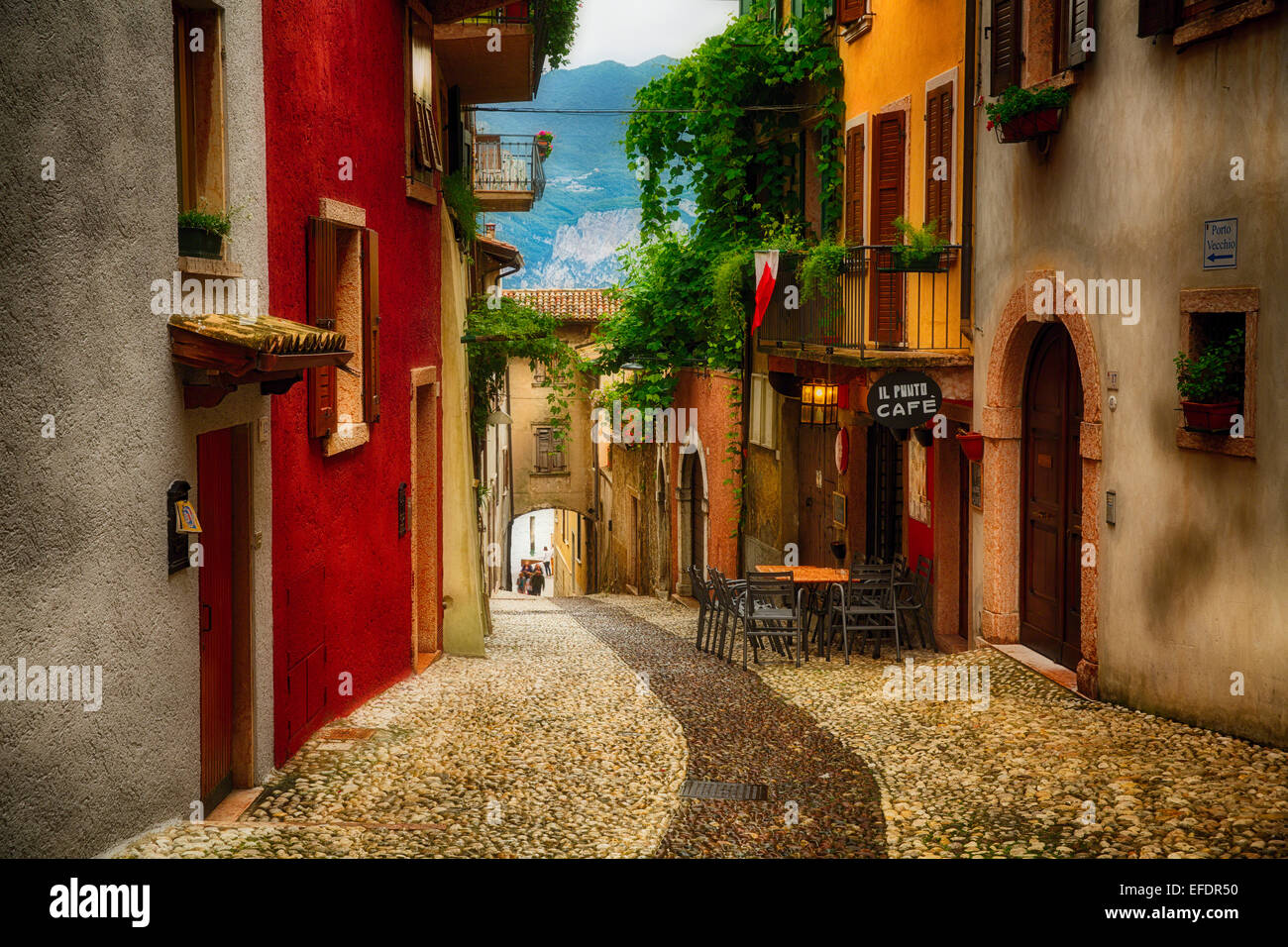Colorful Street in Malcesine, Lake Garda, Lombardy, Italy - Stock Image