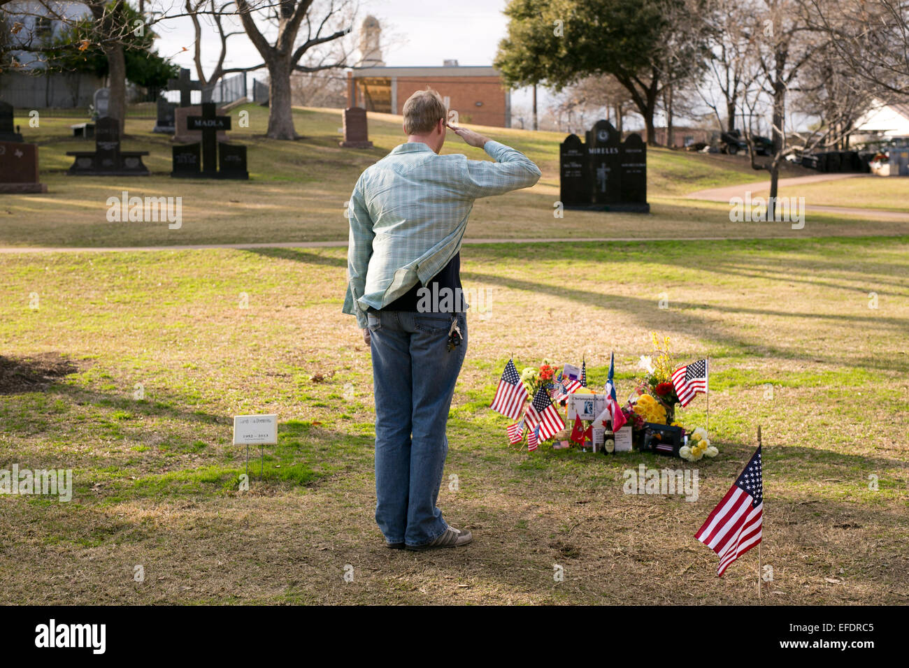 Austin, Texas, USA  1st February, 2015  A visitor salutes at the