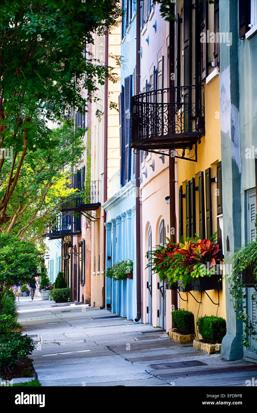View of Colorful Historic Houses, Rainbow Row, East Bay Street, Charleston, South Carolina - Stock Image