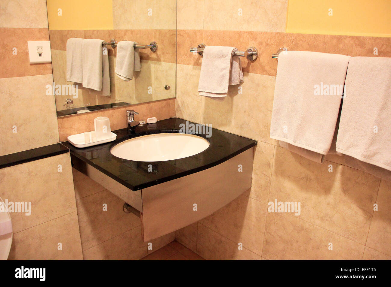 Modern bathroom furnished with wash basin, mirror and towel rods - Stock Image