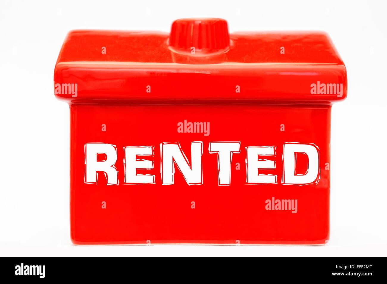 Rented white text on a red house - Stock Image