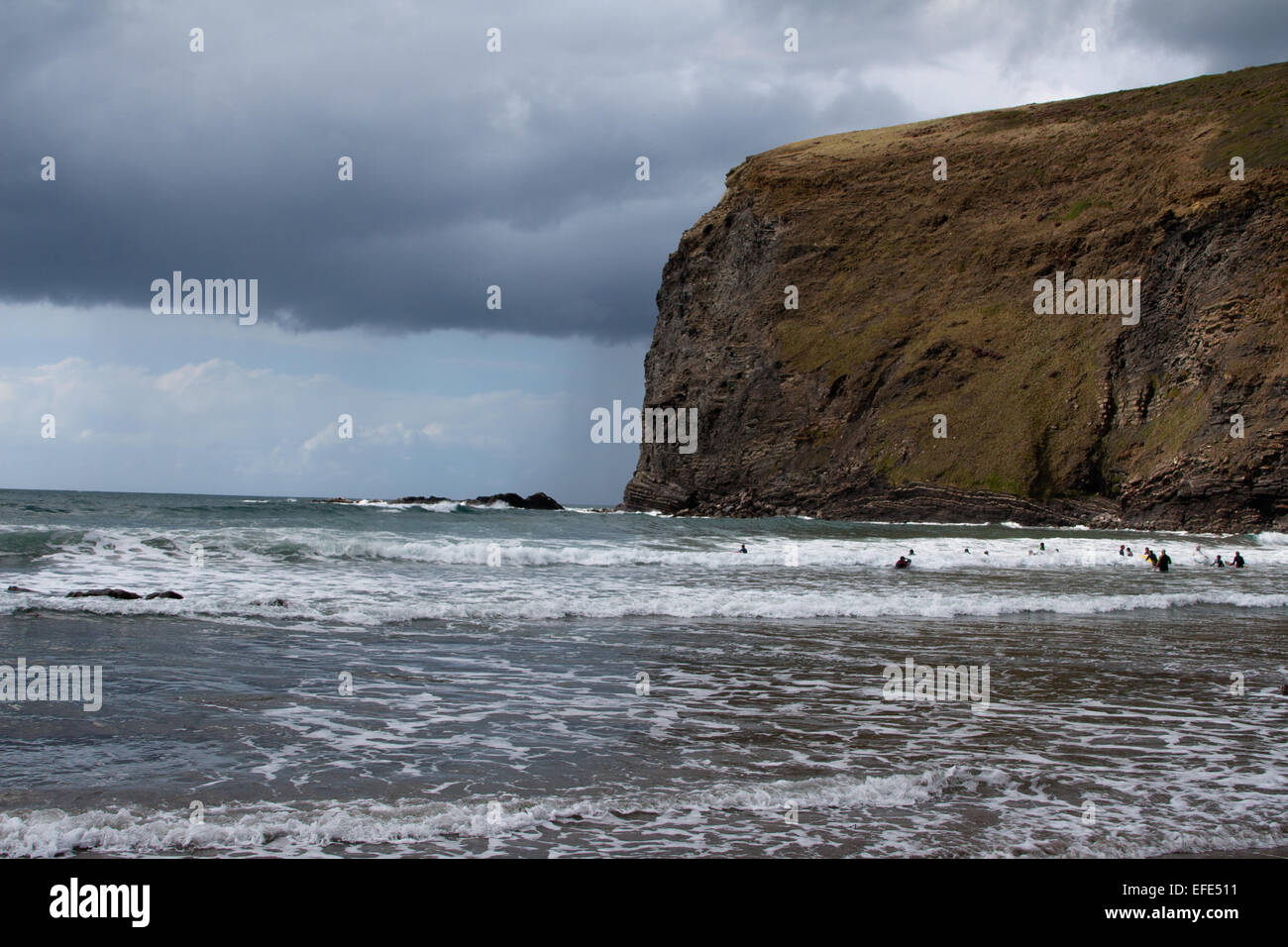 The sea at Crackington Haven, Cornwall - Stock Image