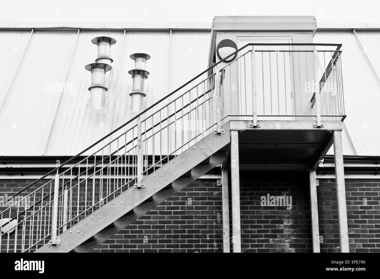 Metal Stairs On The Exterior Of A Modern Building   Stock Image