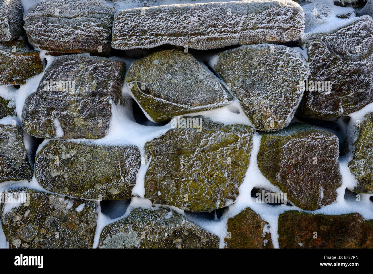 Frost encrusted stones on Hadrian's Wall - Stock Image
