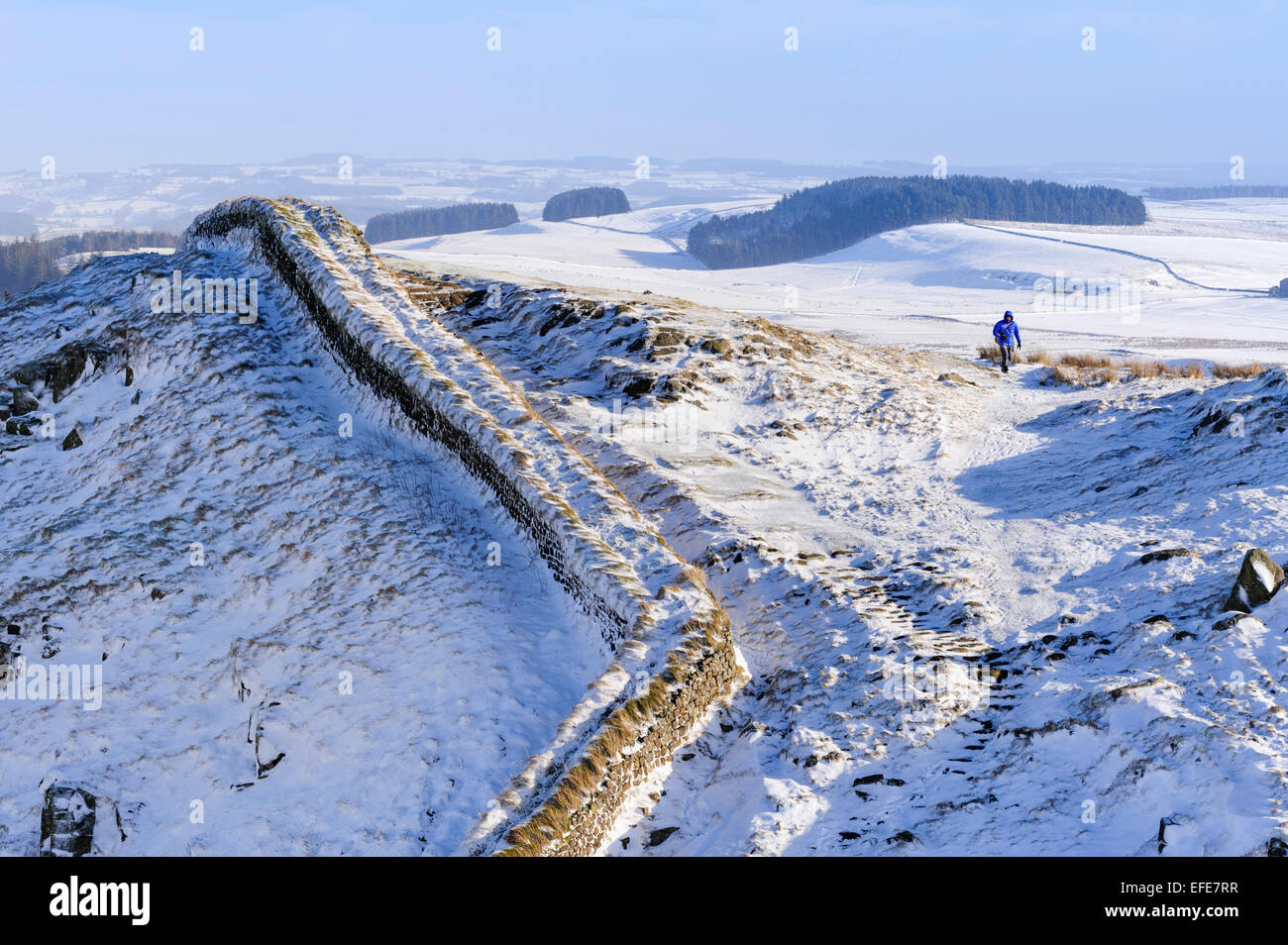 Lone Walker on Hadrian's Wall path. - Stock Image
