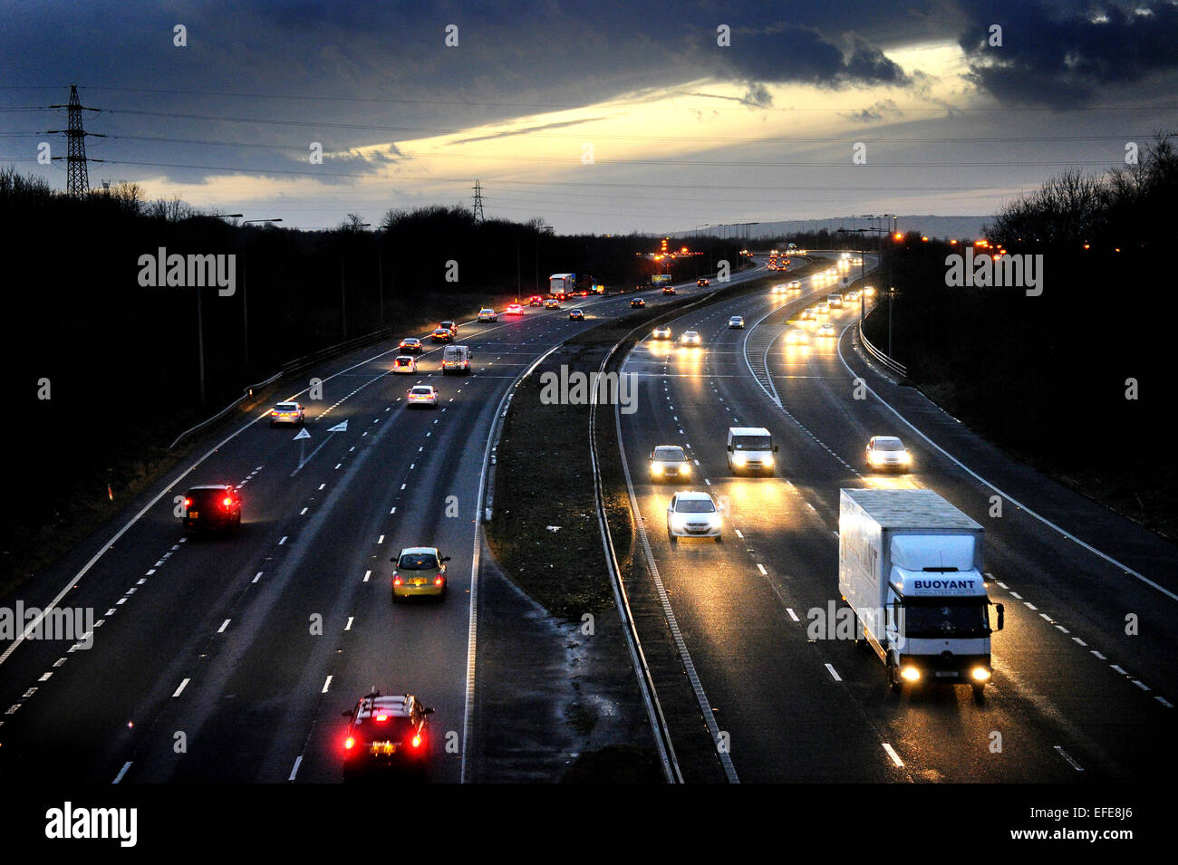 No street lighting on the M65 at junction 8 for the A56. Picture by Paul Heyes, Monday January 12, 2015. Stock Photo