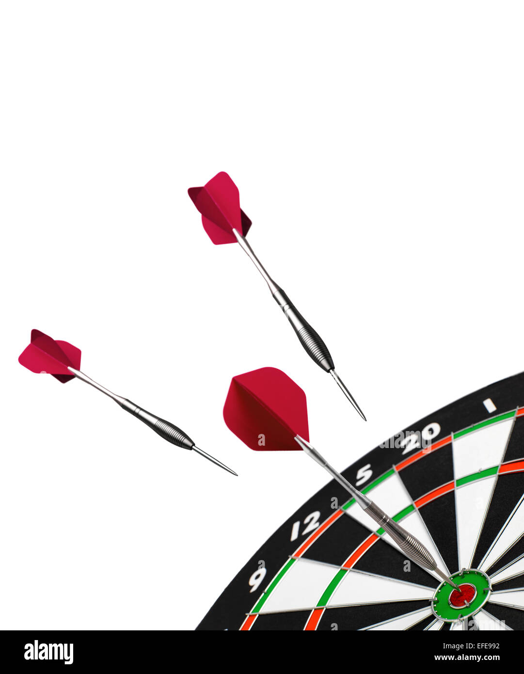 isolated Dart and dart board - Stock Image