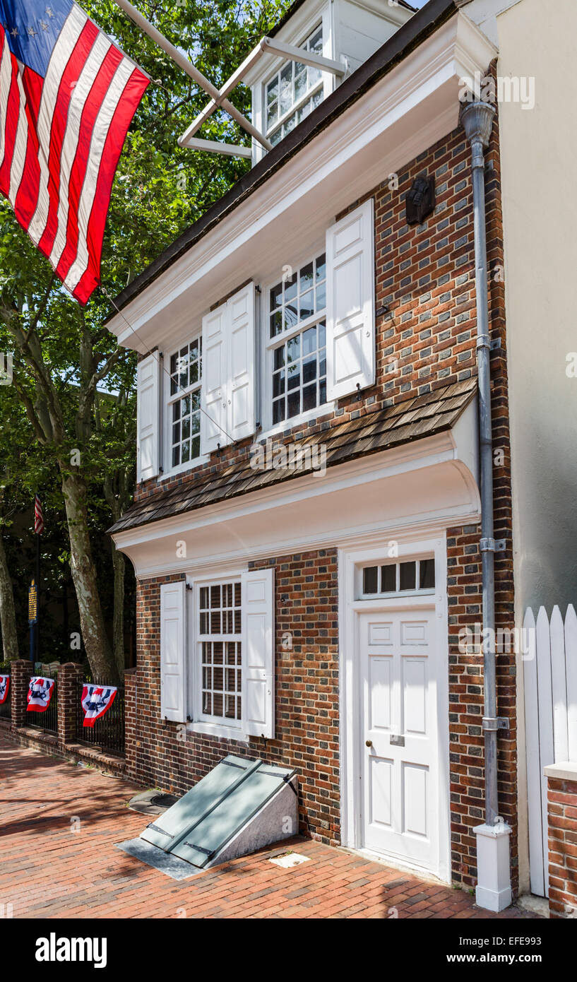 Betsy Ross House on Arch St where the seamstress Betsy Ross is said to have made the first American Flag, Philadelphia, - Stock Image