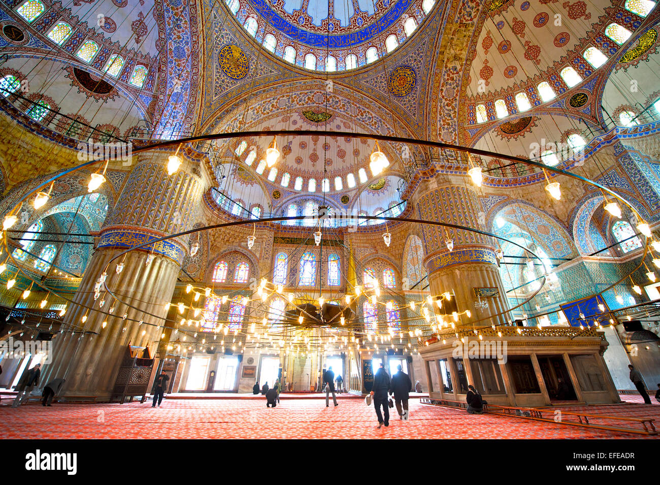 The interior of the Blue Mosque is pictured as part of a photo essay on winter breaks in Istanbul, Turkey. - Stock Image