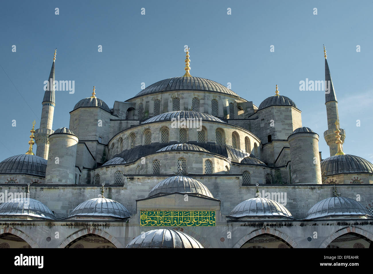 The outside of the Blue Mosque is pictured as part of a photo essay on winter breaks in Istanbul, Turkey. - Stock Image