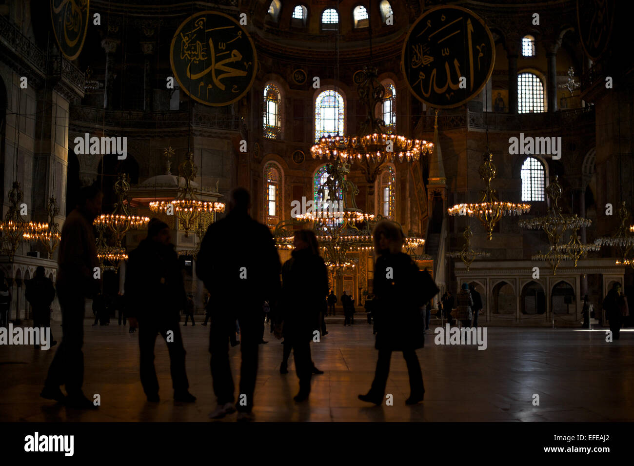 The inside of the Hagia Sofia (aka Aya Sofya) is pictured as part of a photo essay on winter breaks in Istanbul, - Stock Image