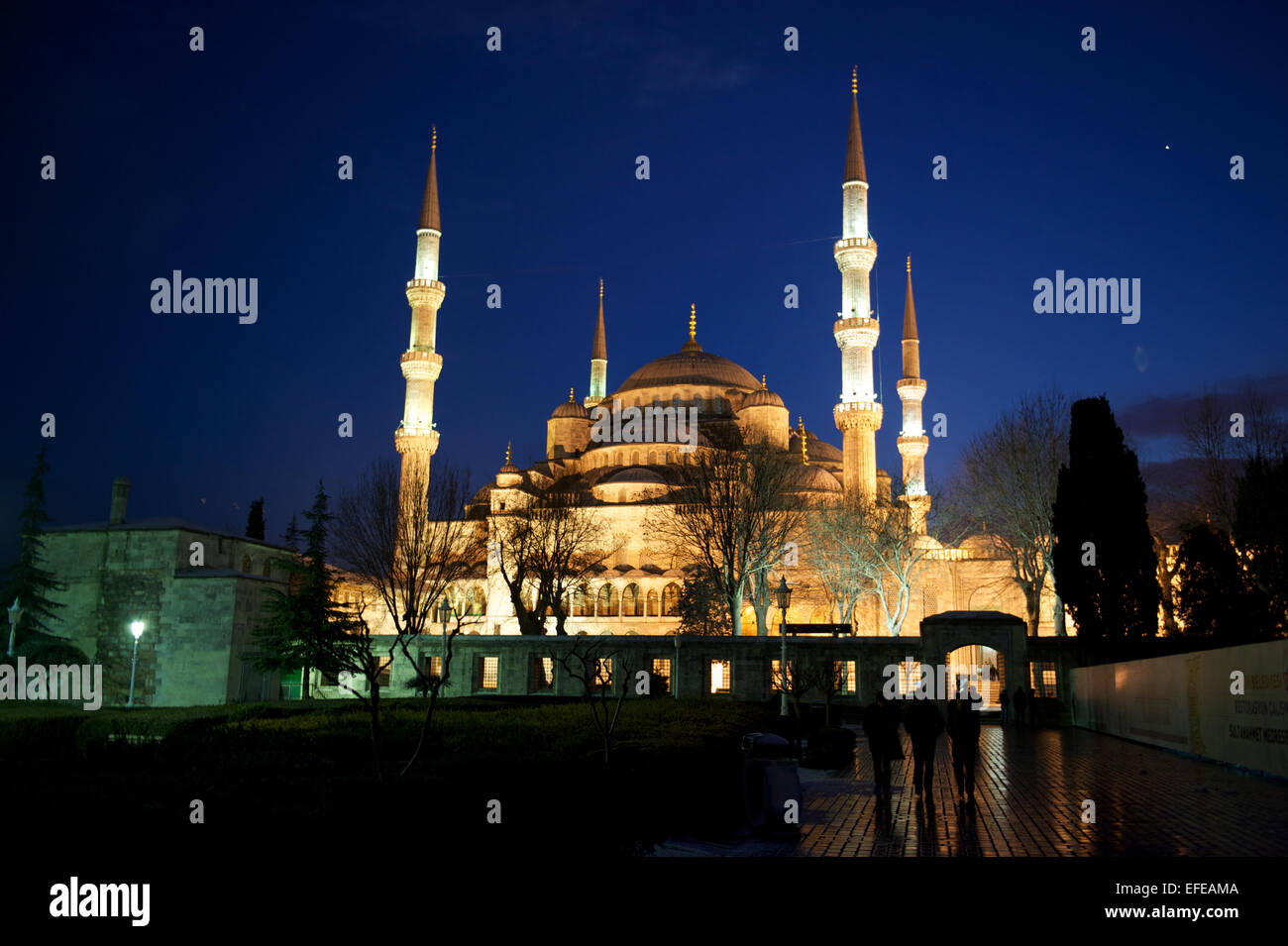 The Blue Mosque is seen at night as part of a photo essay on winter breaks in Istanbul, Turkey. - Stock Image