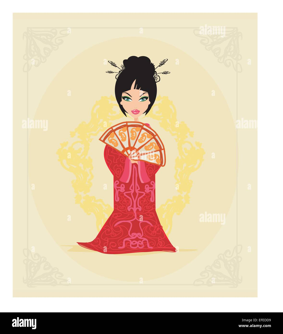 Japanese Little Girl Stock Vector Images - Alamy