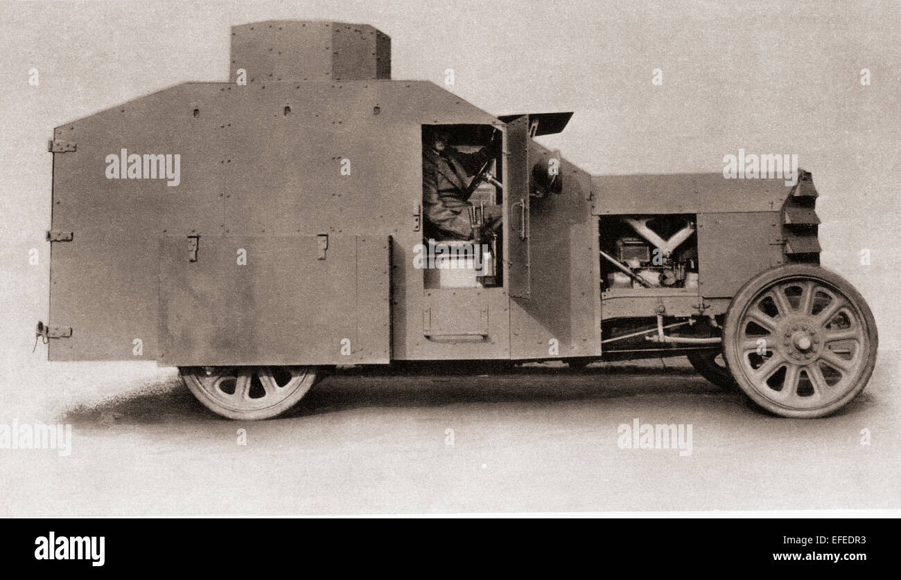 A British armoured car during World War One. - Stock Image