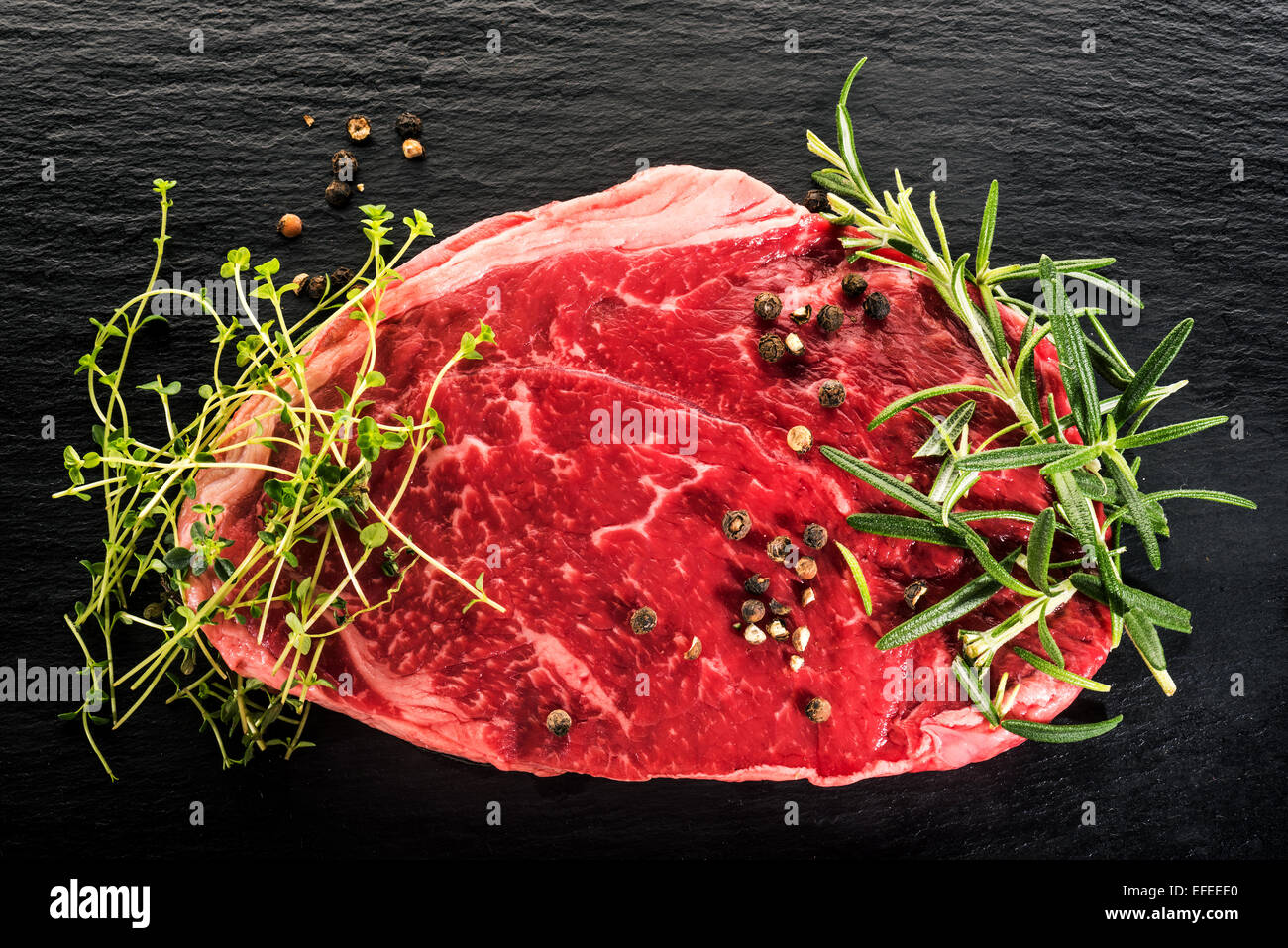 pure raw beef American Beef Beefsteak Steak Bow flesh food eating animals slice of frying grilling stewing fresh - Stock Image