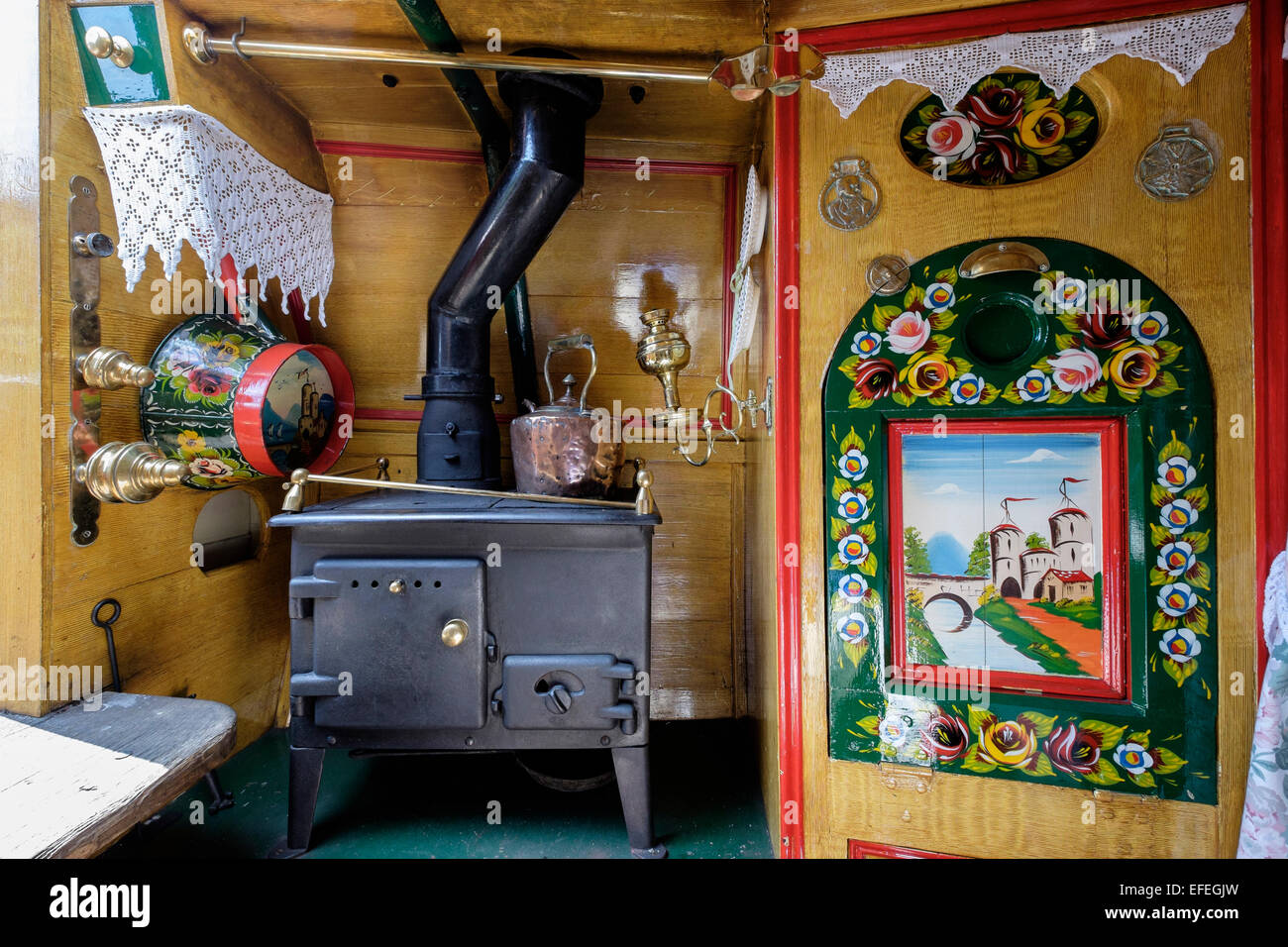 Interior of traditional canal narrowboat galley at National Waterways Museum. Ellesmere Port, Cheshire, England, - Stock Image