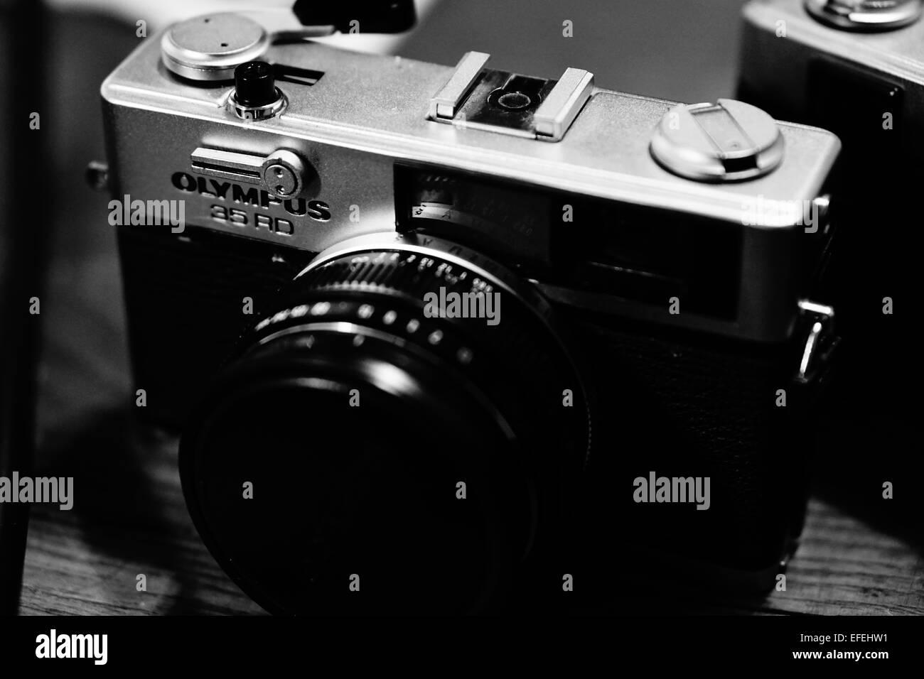 Old Film Rangefinder Camera BW - Stock Image